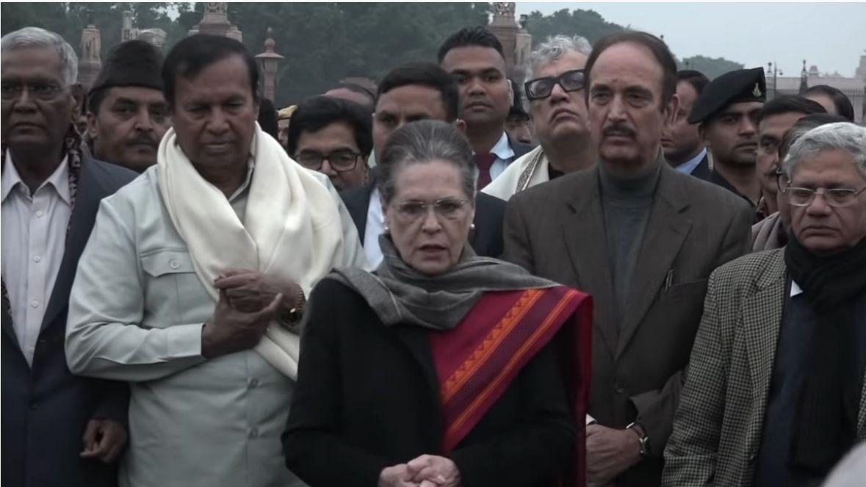 Congress President Sonia Gandhi with Opposition leaders Sitaram Yechuri, A Raja and Derek O Brian