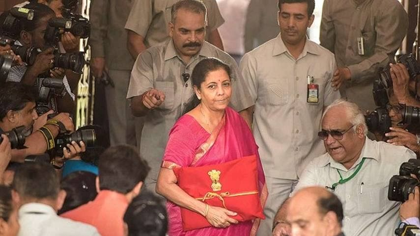 FM Nirmala Sitharaman on her way to present Union Budget 2019 with a 'bahi-khata'in her hand.