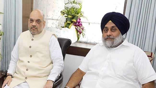 Amit Shah and SAD leader Sukhbir Badal (file photo-social media)