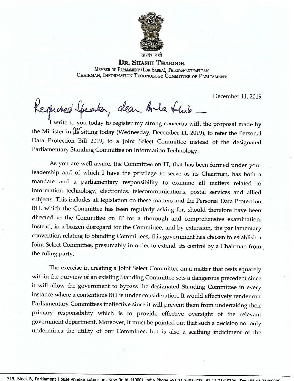Letter written by Shashi Tharoor to Lok Sabha Speaker Om Birla expressing unhappiness over bypassing the established mechanism.