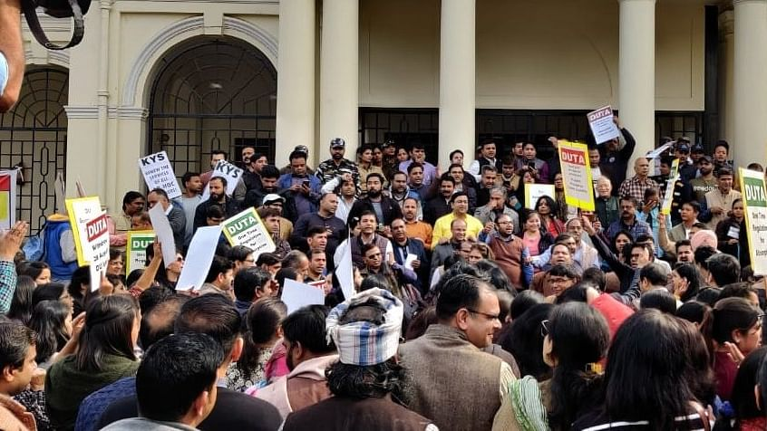 Now trouble in Delhi University: DU teachers protest demanding absorption of ad-hoc teachers