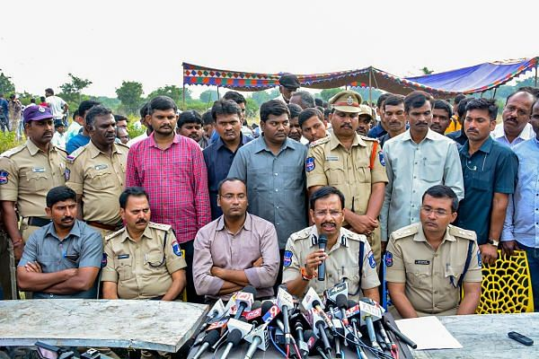 Cyberabad Police Commissioner VC Sajjanar, who carried out the 'encounter' of the four accused in the Hyderabad veterinarian rape and murder case, addresses the media, in Hyderabad, Friday, Dec. 6, 2019. (PTI photo)