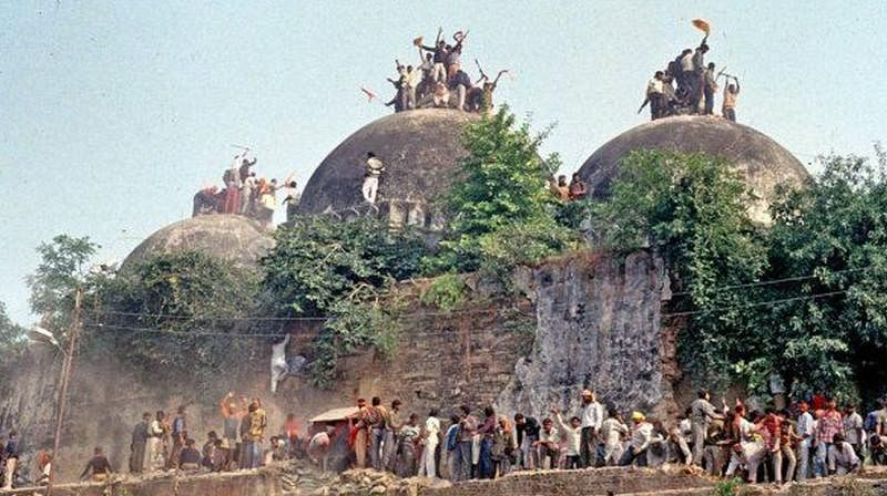 Babri Masjid in Ayodhya being pulled down by a Hindutva mob on December 6, 1992 (file photo)