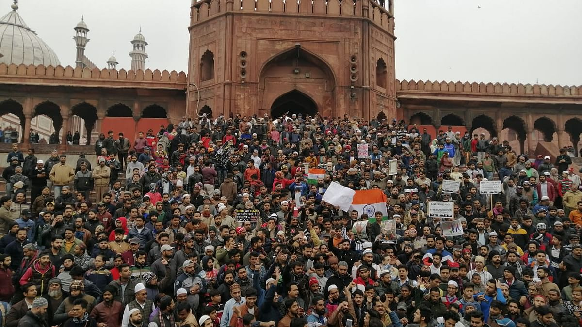 Thousands gathered at Delhi's Jama Masjid and held a protest against the CAA and police action against university students.