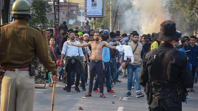 Thousands of people defied curfew in Guwahati on Thursday and took to streets, protesting against the Citizenship Amendment Bill. (PTI photo)