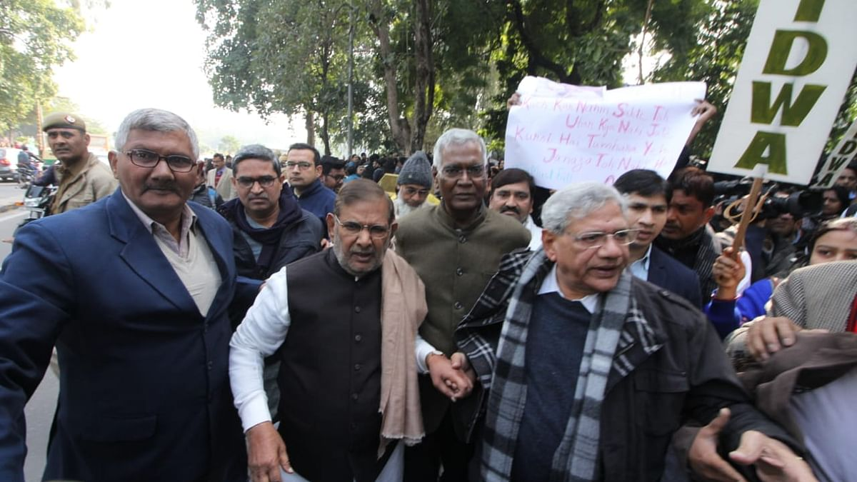 Opposition leaders join peoples' march against JNU violence; VC has to go, says Sitaram Yechury