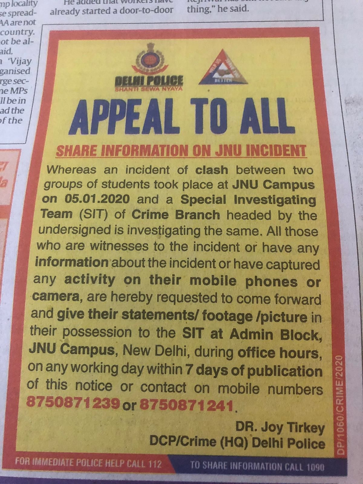 Delhi police publishes ad requesting info on JNU; what happened to available information?
