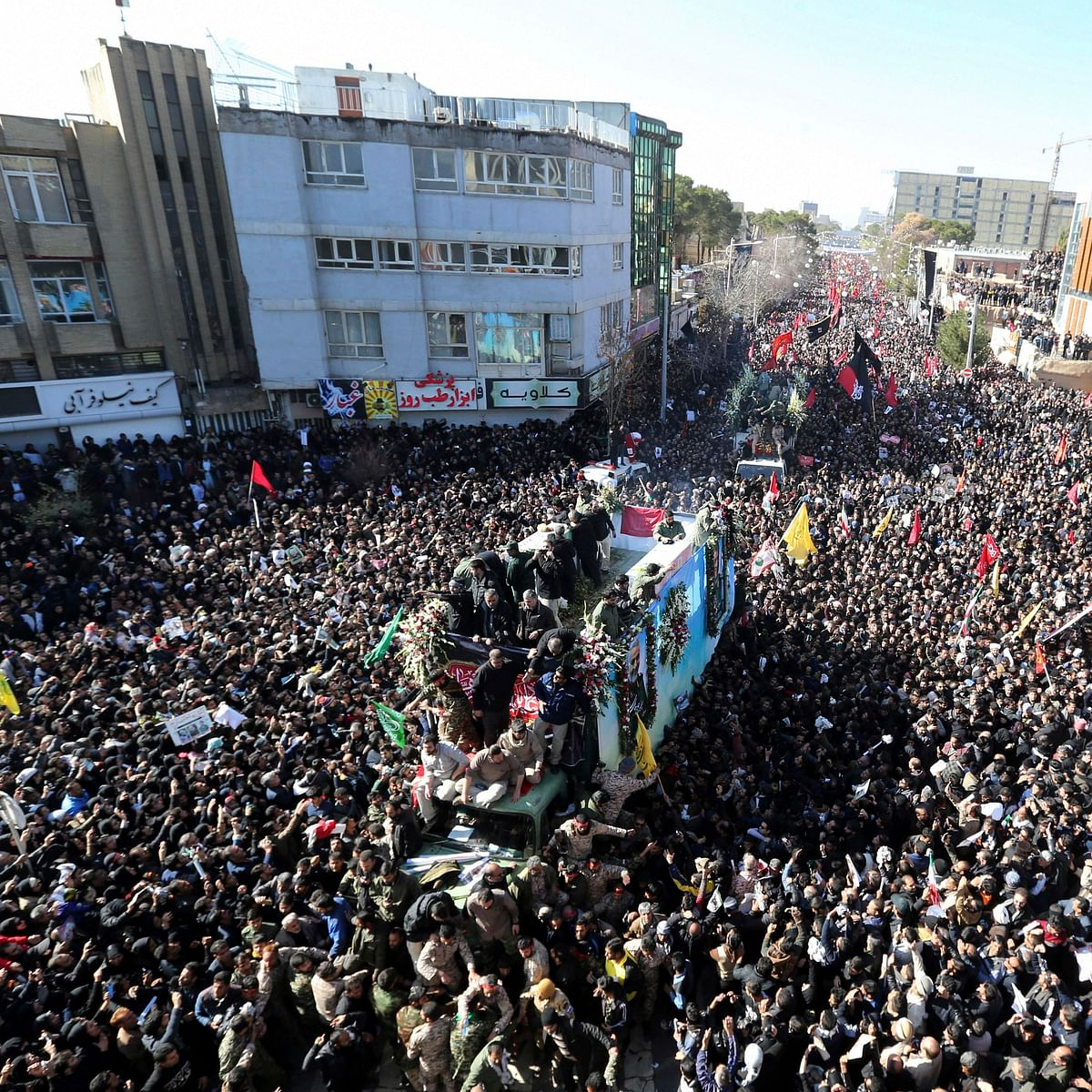 The funeral procession of Gen. Qassem Soleimani in the city of Kerman, Iran, on Tuesday, Jan. 7, 2020. (PTI photo)