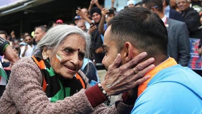 Charulata Patel with Indian skipper Virat Kohli (Photo courtesy: Twitter)