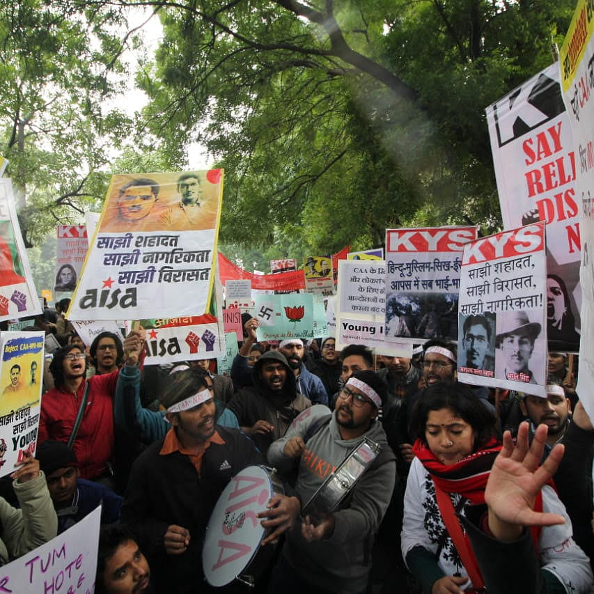 An anti-CAA protest at Mandi House in Delhi on Monday (NH photo by Vipin)