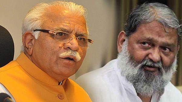 Haryana CM Manohar Lal Khattar and state home minister Anil Vij (Photo courtesy: social media)