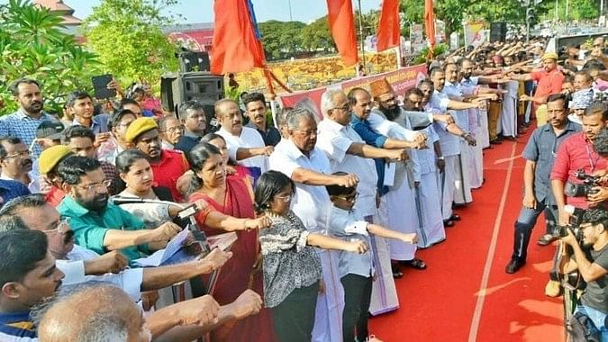 620 Km long human chain in Kerala against CAA shows the power of a republic