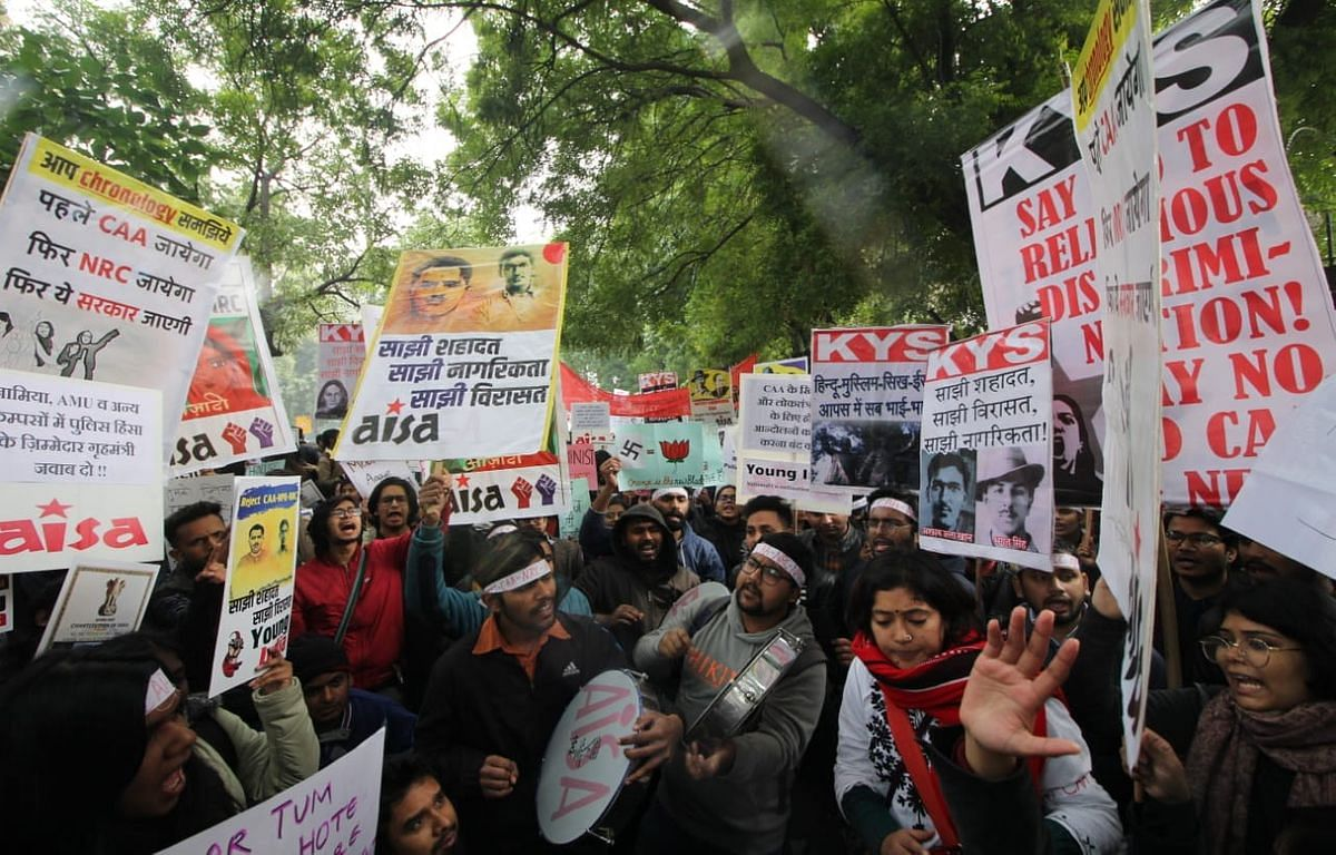 Students protest at Mandi House against CAA, NRC in Delhi