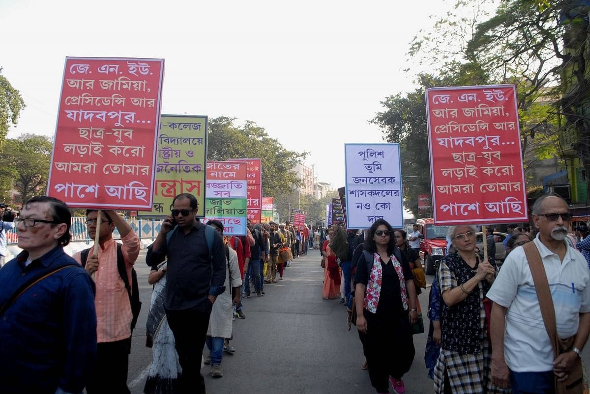Theatre artists march through Kolkata streets against CAA
