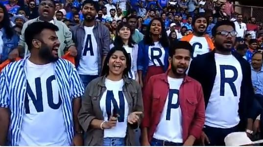 People protesting against CAA and NRC inside Wankhede Stadium in Mumbai on Tuesday, Jan 14, 2020.