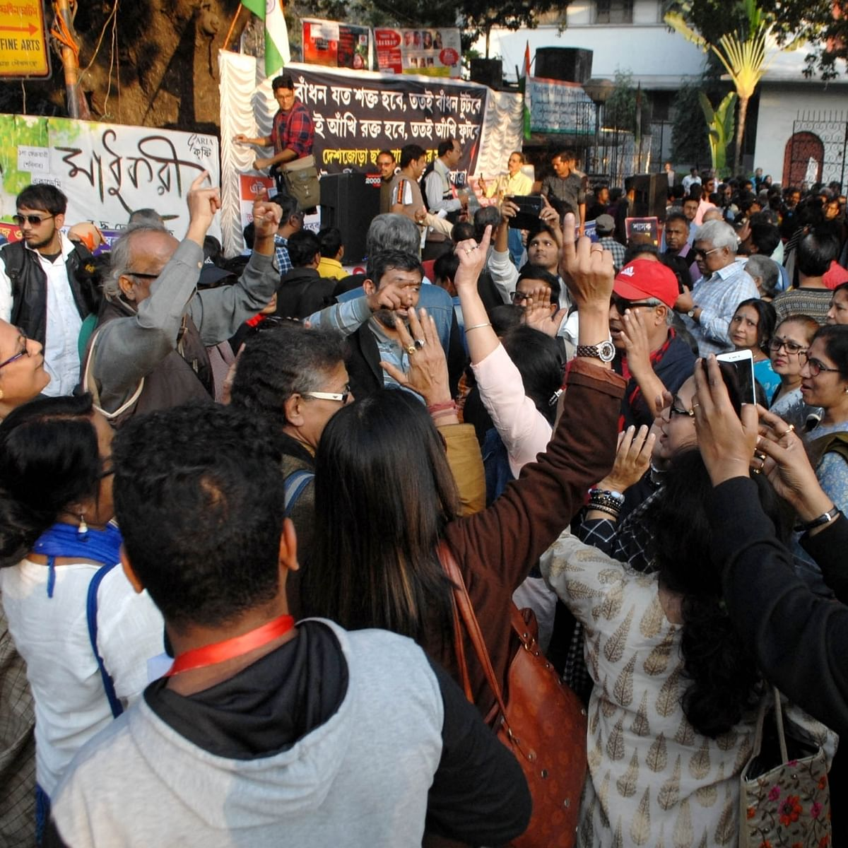 Theatre artistes hold a protest rally against Communalism, in Kolkata (IANS Photo)