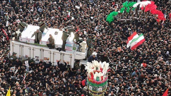 Massive crowd gathered in Tehran to mourn the slain General Soleimani
