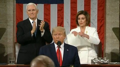 Democrat leader Nancy Pelosi tearing up the copy of President Trump's speech (Photo courtesy: Twitter)