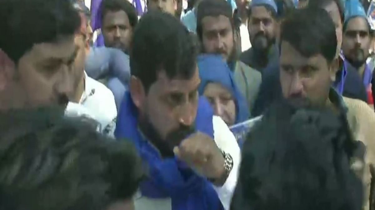Bhim Army Chief Chandrashekhar Azad leads 'Aarakshan Bachao' march from Mandi House to Parliament.