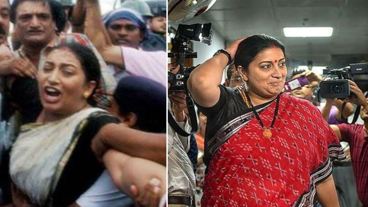 (left) BJP leader Smriti Irani in 2013, (Right) BJP minister Smriti Irani in 2020