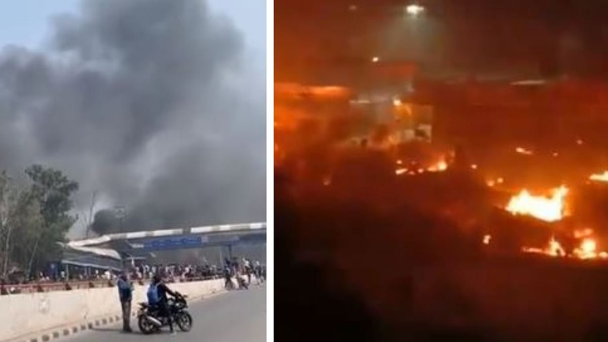Screenshots from videos depicting incidents of arson and violence in north-east Delhi