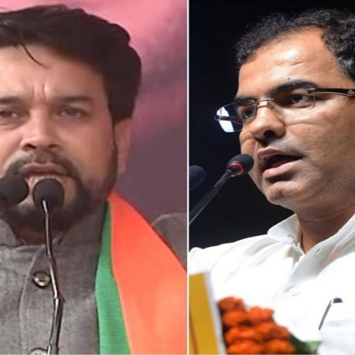 (Left) Anurag Thakur, (Right) Parvesh Verma (Photo courtesy- social media)