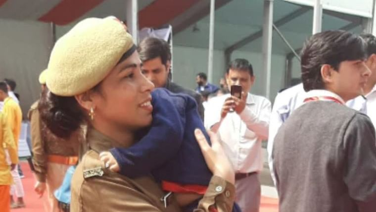 Woman cop brings infant son to CM Yogi Adityanath duty in Uttar Pradesh's Noida