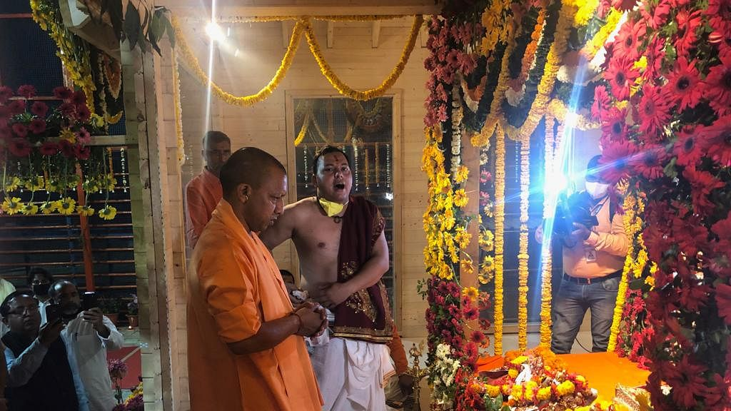Prayer at Ayodhya during shifting of Ram Lalla from tent to makeshift temple