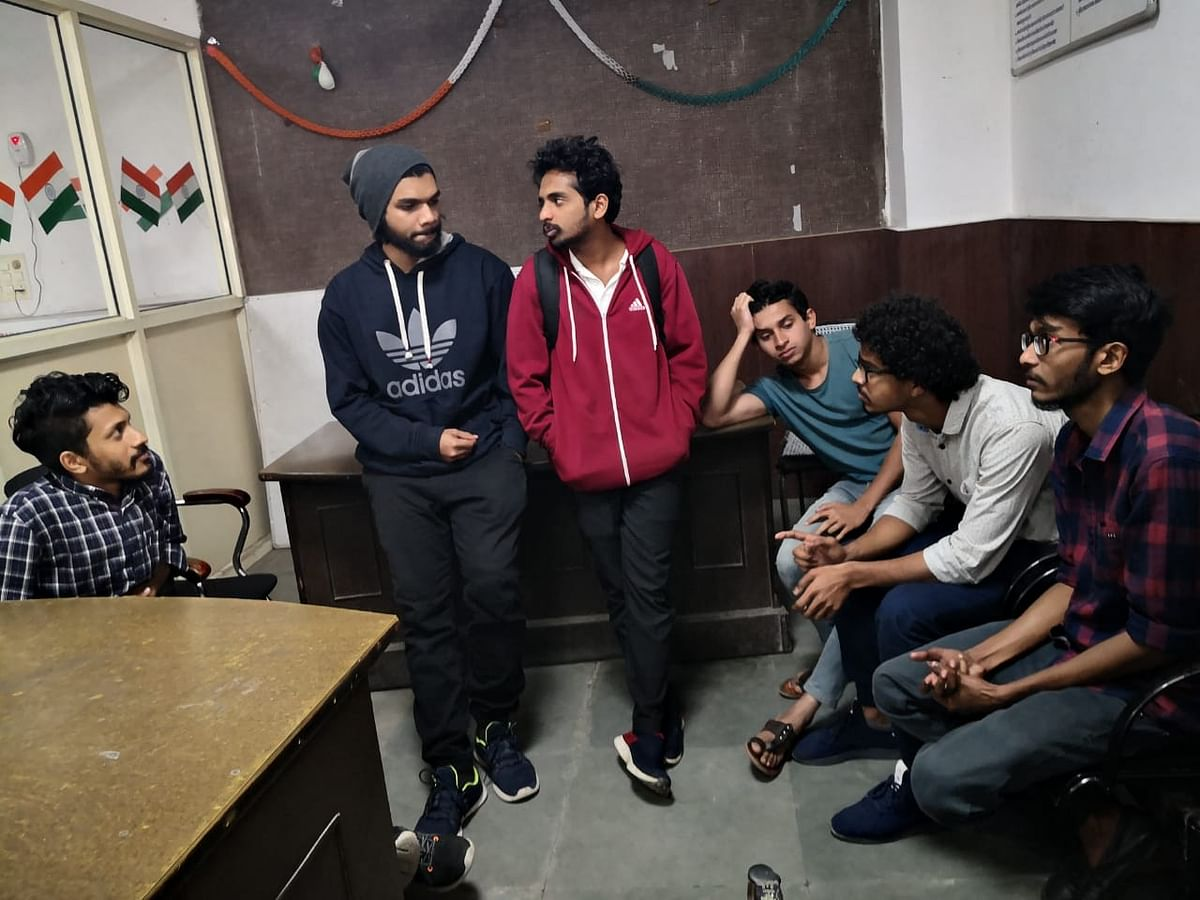 Students in the police station (NH Photo)