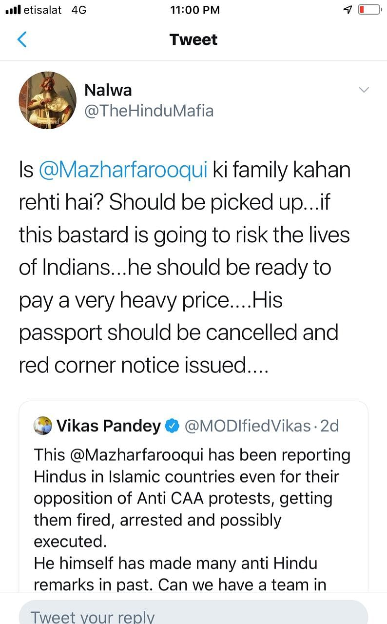 Gulf News editor in Dubai receives threats from BJP's IT cell and verified accounts