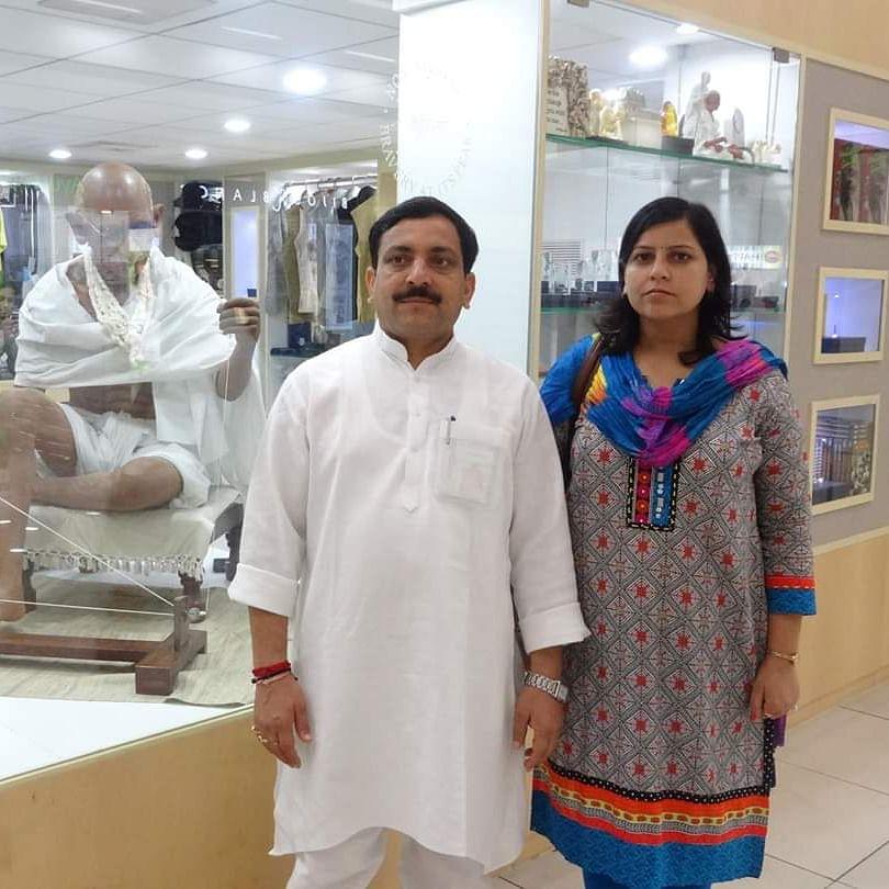 Former Uttar Pradesh minister Kuldeep Ujjwal with wife Anshu