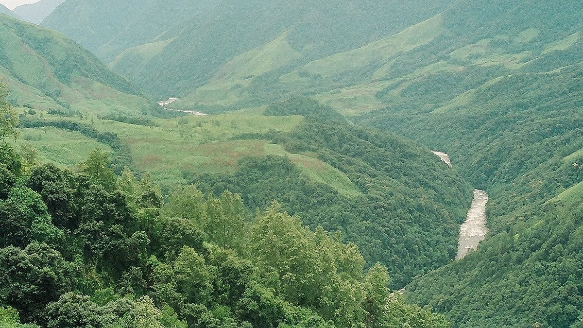 An aerial view of the Dibang Valley
