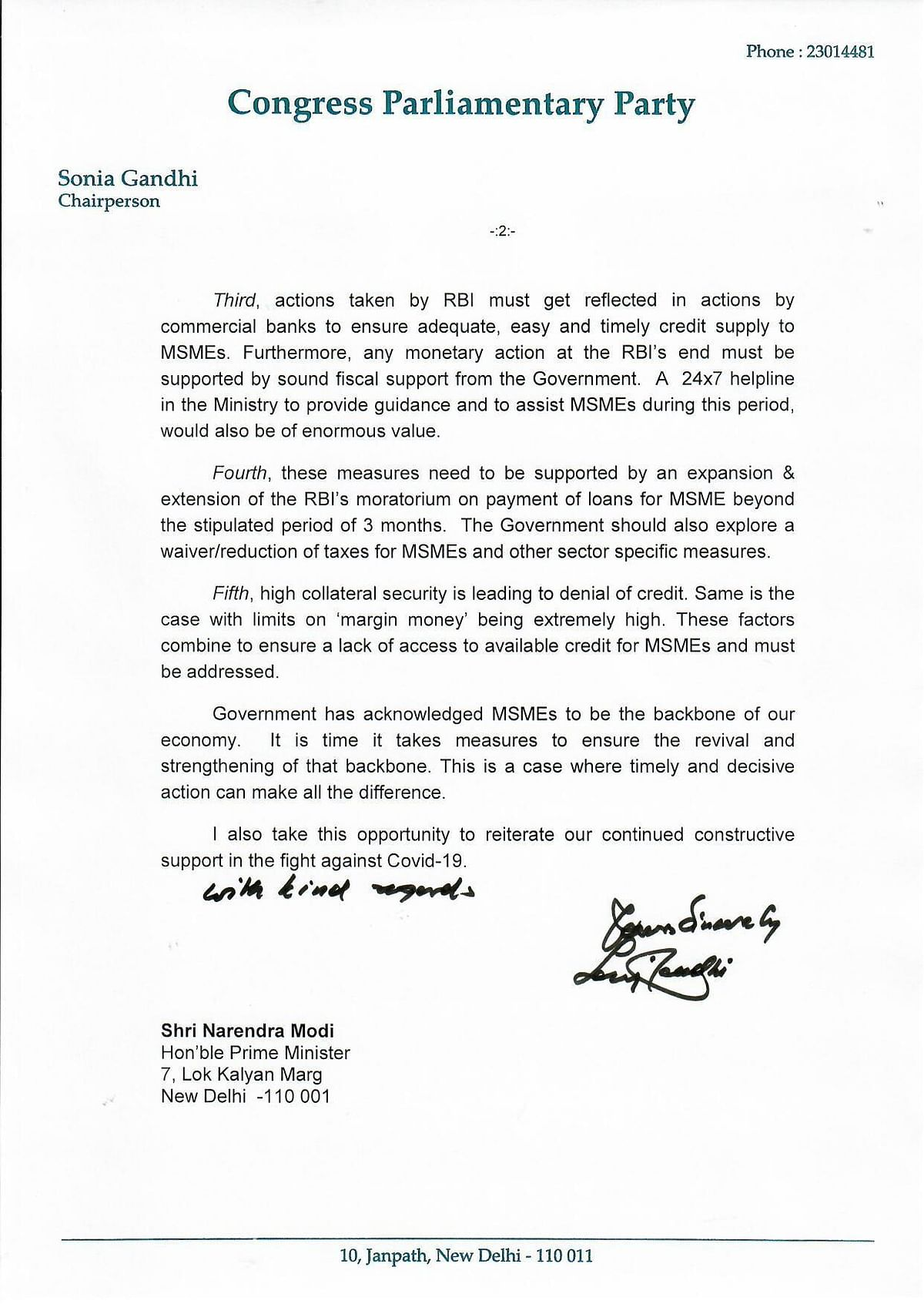 Congress President Sonia Gandhi writes to PM Modi; seeks economic package for revival of MSMEs