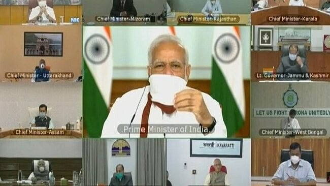 Prime Minister Narendra Modi interacted via video-conference with Chief Ministers (Photo courtesy- social media)