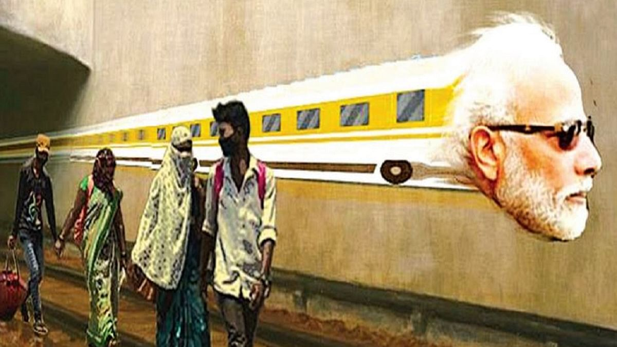 Artist Orijit Sen depicts the growing gulf between a verbose Prime Minister and the poor, migrant workers