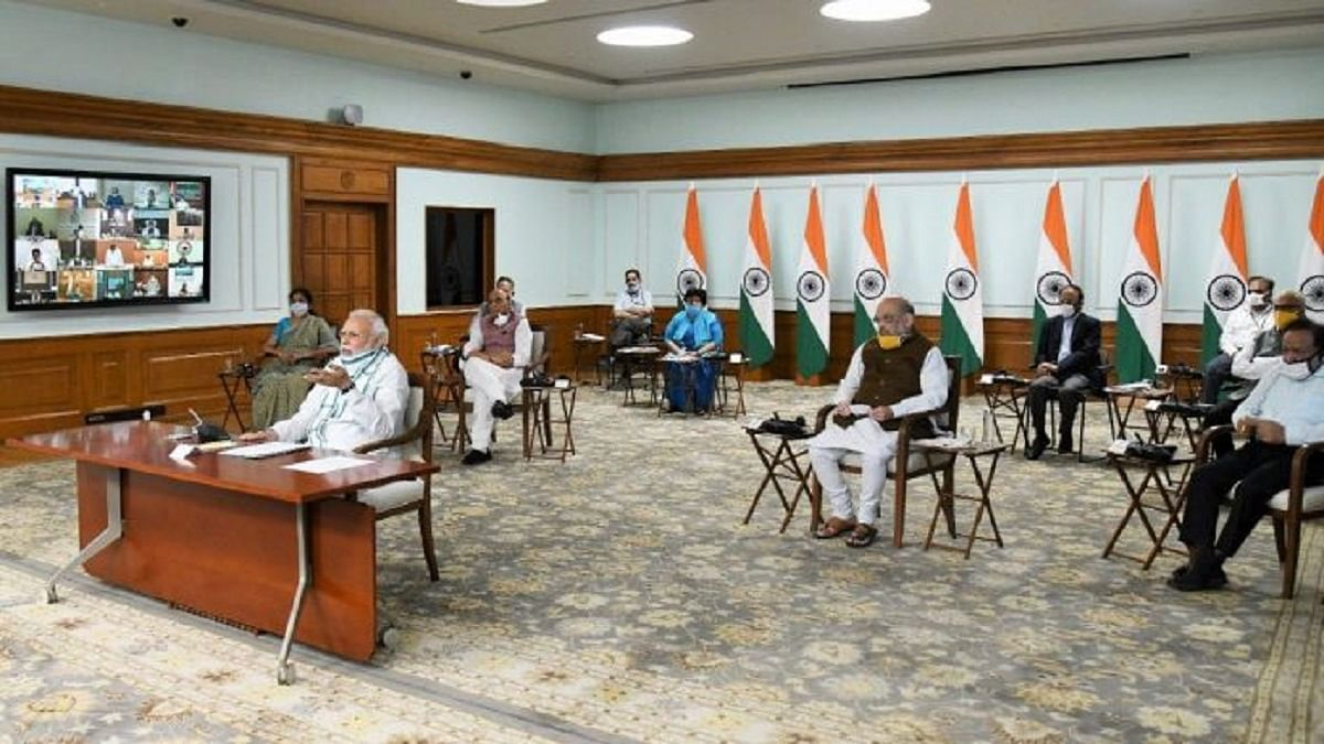 PM Modi and several Union ministers interact with chief ministers during a video conference on 27 April 2020