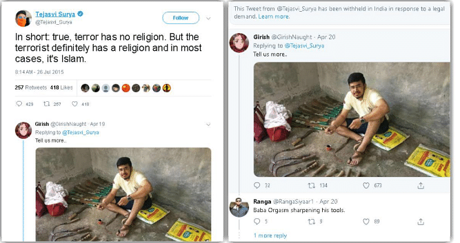 The original tweet by Tejasvi Surya on Islam (left). How the tweet currently looks now after being taken down in response to a legal demand (right)