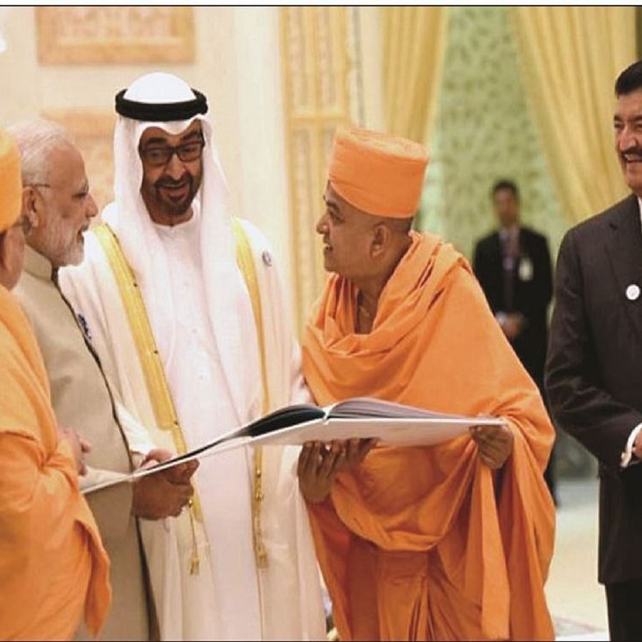 BR Shetty looks on as PM narendra Modi and UAE  Crown Prince Mohamed bin Zayed al Nahyan interact with priests before the foundation laying ceremony of Abu Dhabi's first Hindu temple in February, 2018