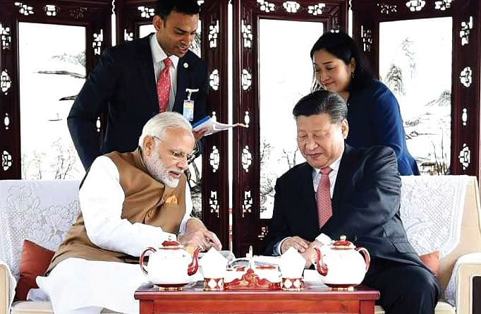 <b>Wuhan, China April, 2018:</b> Prime Minister Narendra Modi and Chinese President Xi Jinping in Wuhan, China