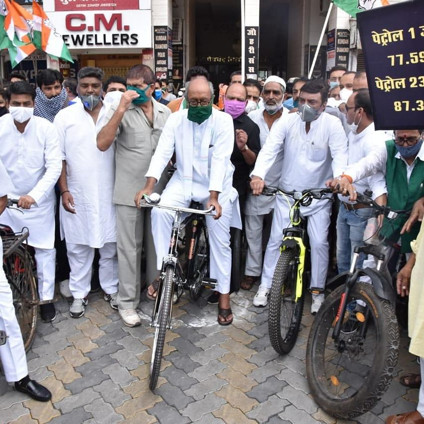 MP Congress protests against fuel price hike; police books Digvijay Singh for leading bicycle rally