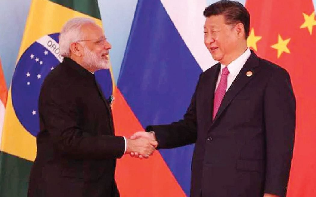 <b>Xiamen, China, September 4, 2017: </b>Chinese President Xi Jinping welcomes Prime Minister Narendra Modi atInternational Conference Center in Xiamen