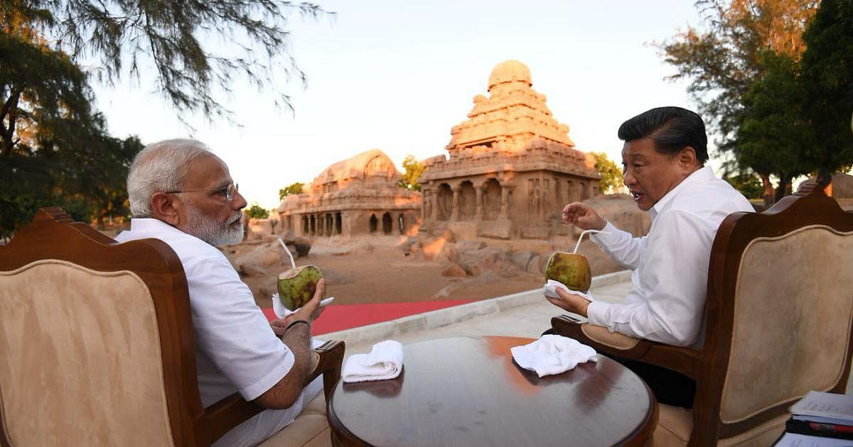 <b>Mahabalipuram, Tamil Nadu, October, 2019</b>: Prime Minister Narendra Modi and Chinese President Xi Jinping in Mahabalipuram, Tamil Nadu