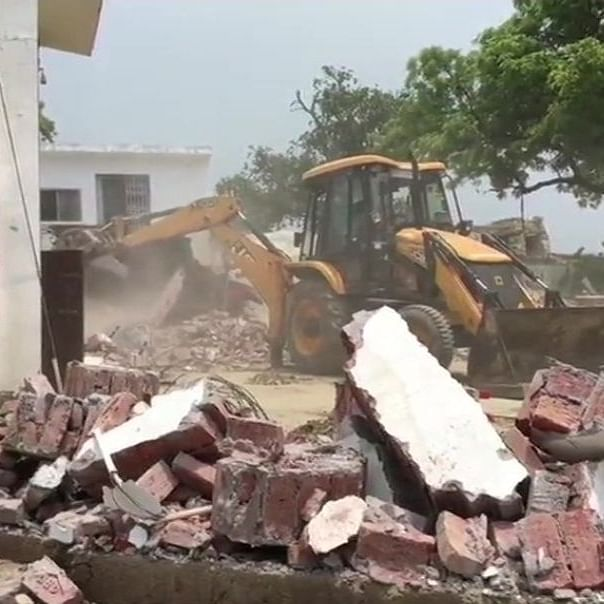 Gangster Vikas Dubey's, the main accused in the killing of eight police personnel, house demolished in Kanpur's Bithur on July 4, 2020.