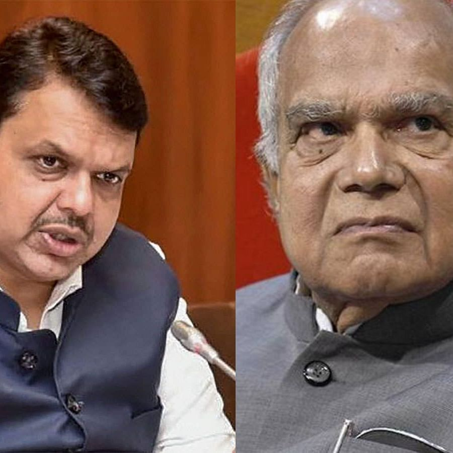 Tamil Nadu Governor Banwarial Purohit (Left) and Devendra Fadnavis (Right)