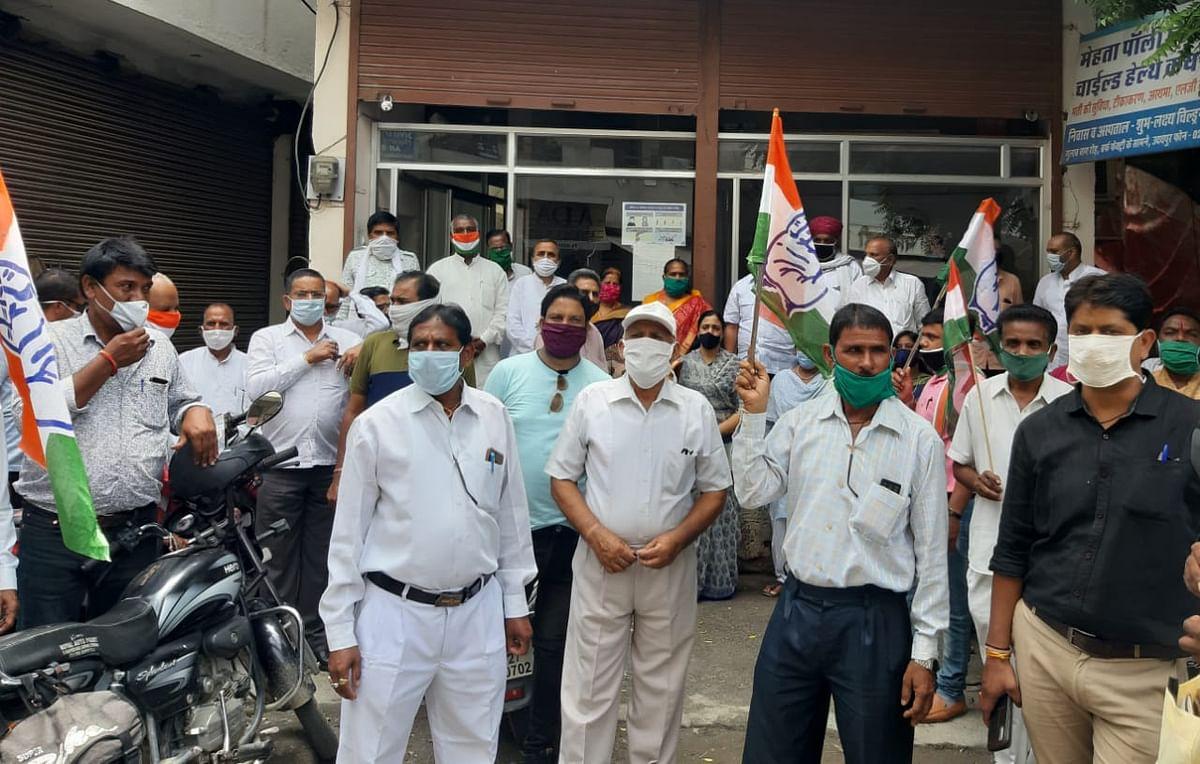 Rajasthan Congress demonstration in Udaypur