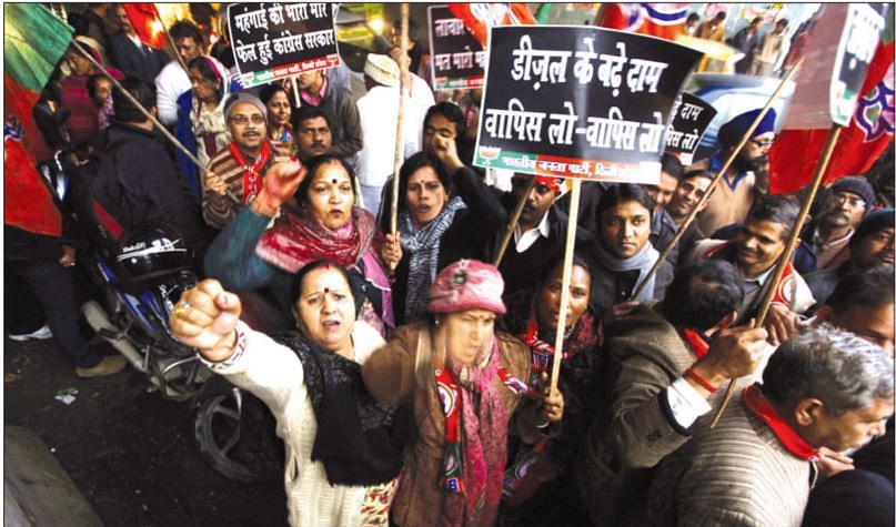BJP workers protest against diesel price hike on January 18, 2013. Oil firms had increased the price of diesel by Rs 0.45 a litre, while cutting the petrol price by Rs. 0.25 per litre