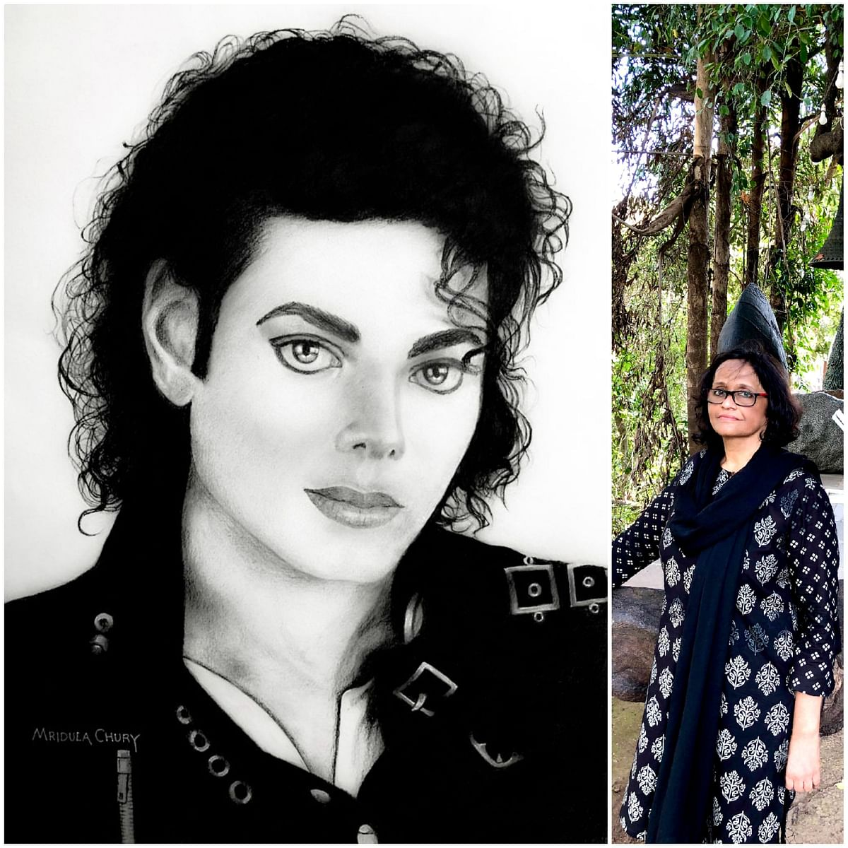 Mridula Chury's charcoal tribute to King of Pop Michael Jackson on his birth anniversary