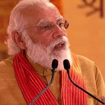 Prime Minister Narendra Modi addresses after performing the 'Bhumi Pujan' ceremony at the Ram Janmabhoomi site in Ayodhya on Aug 5, 2020. (IANS Photo)