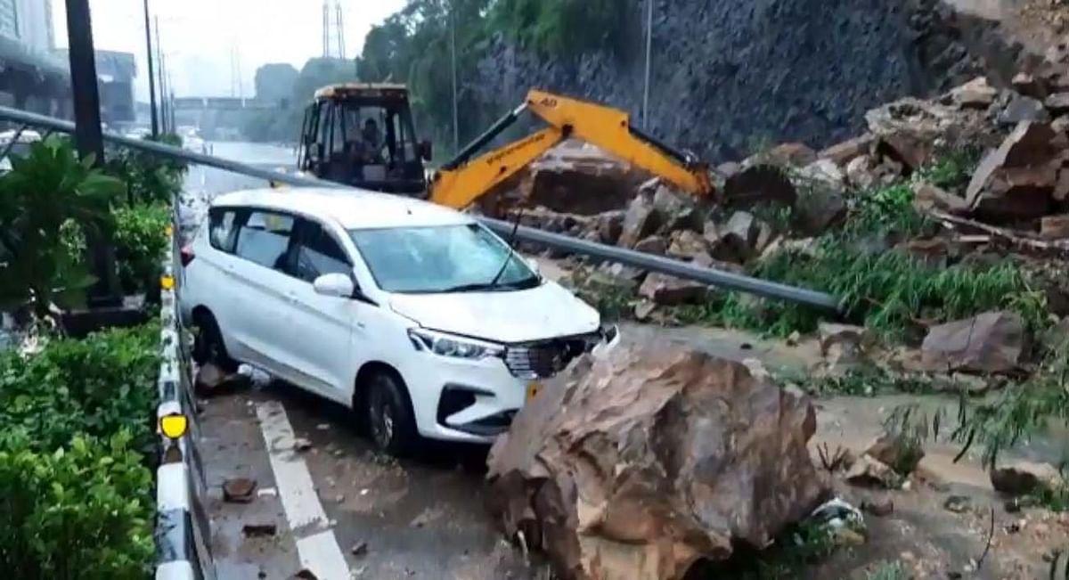 Heavy rains pound Mumbai, landslide hits road, rail traffic