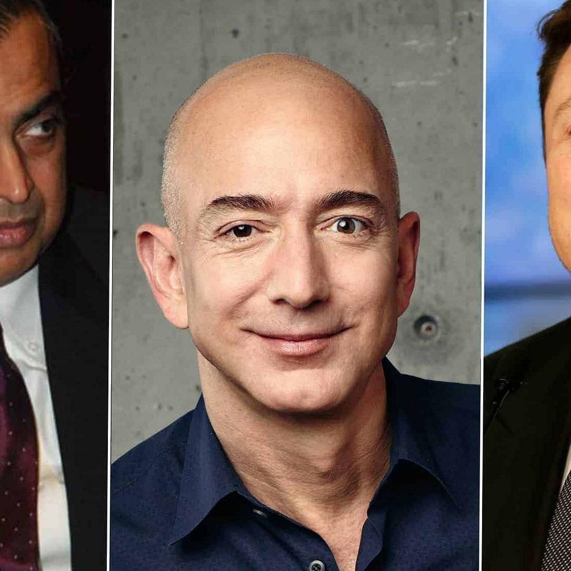 (From left) Mukesh Ambani, Jeff Bezos and Elon Musk